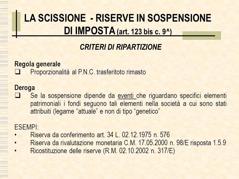 LA SCISSIONE - RISERVE IN SOSPENSIONE DI IMPOSTA (art. 123 bis c. 9^) CRITERI DI RIPARTIZIONE Regola generale Proporzionalità al P.N.C. trasferitoto r