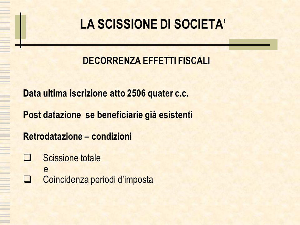 LA SCISSIONE DI SOCIETA DECORRENZA EFFETTI FISCALI Data ultima iscrizione atto 2506 quater c.c.