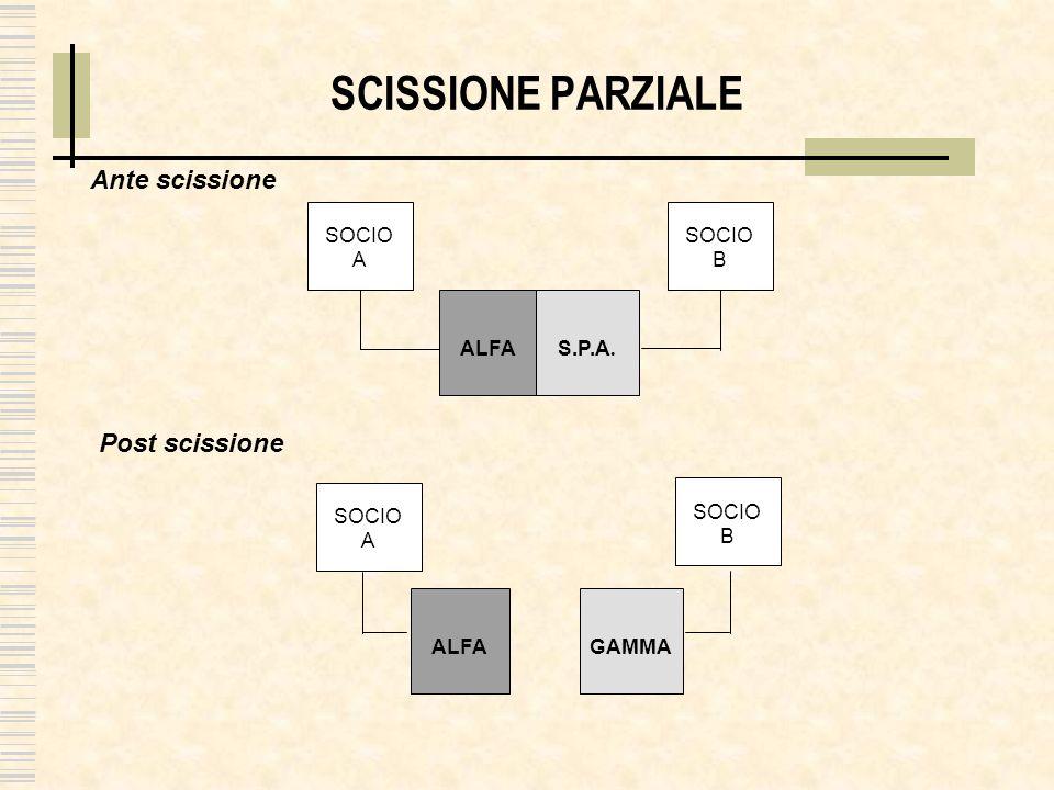 SCISSIONE PARZIALE ALFA S.P.A. Ante scissione Post scissione SOCIO A SOCIO B SOCIO A SOCIO B ALFA GAMMA