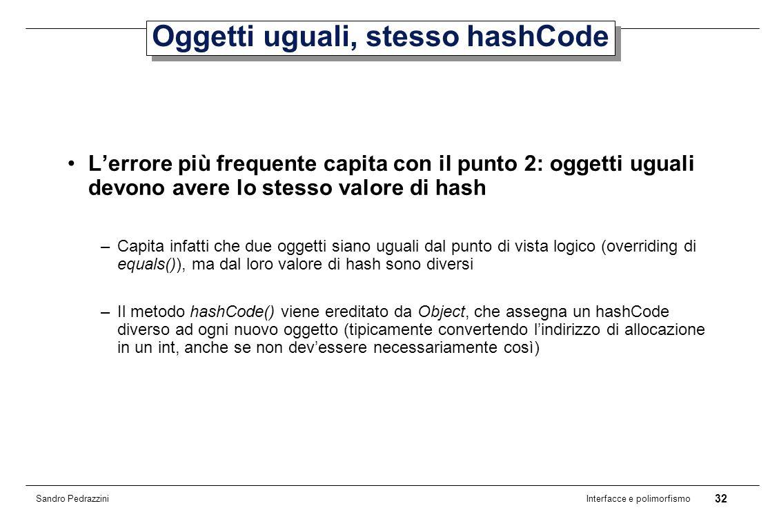 32 Interfacce e polimorfismo Sandro Pedrazzini Oggetti uguali, stesso hashCode Lerrore più frequente capita con il punto 2: oggetti uguali devono avere lo stesso valore di hash –Capita infatti che due oggetti siano uguali dal punto di vista logico (overriding di equals()), ma dal loro valore di hash sono diversi –Il metodo hashCode() viene ereditato da Object, che assegna un hashCode diverso ad ogni nuovo oggetto (tipicamente convertendo lindirizzo di allocazione in un int, anche se non devessere necessariamente così)
