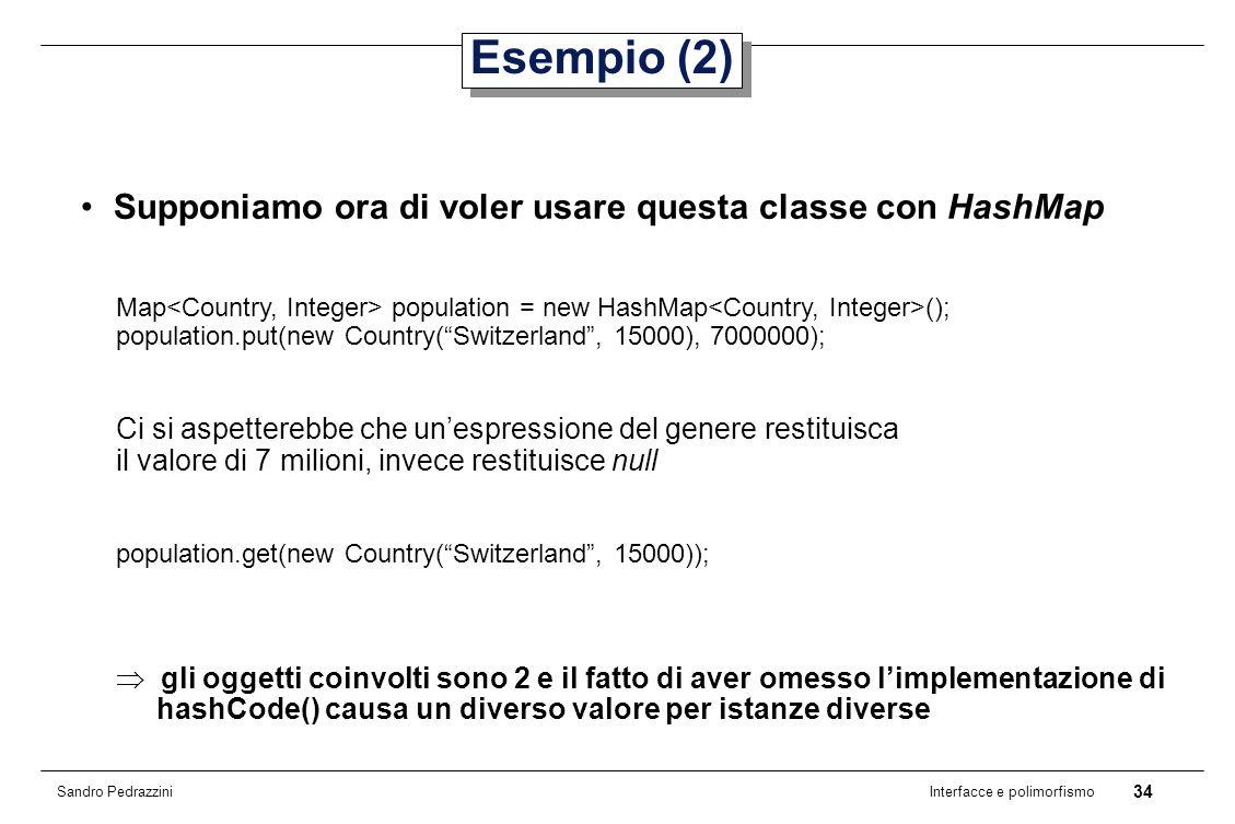 34 Interfacce e polimorfismo Sandro Pedrazzini Esempio (2) Supponiamo ora di voler usare questa classe con HashMap Map population = new HashMap (); population.put(new Country(Switzerland, 15000), 7000000); Ci si aspetterebbe che unespressione del genere restituisca il valore di 7 milioni, invece restituisce null population.get(new Country(Switzerland, 15000)); gli oggetti coinvolti sono 2 e il fatto di aver omesso limplementazione di hashCode() causa un diverso valore per istanze diverse