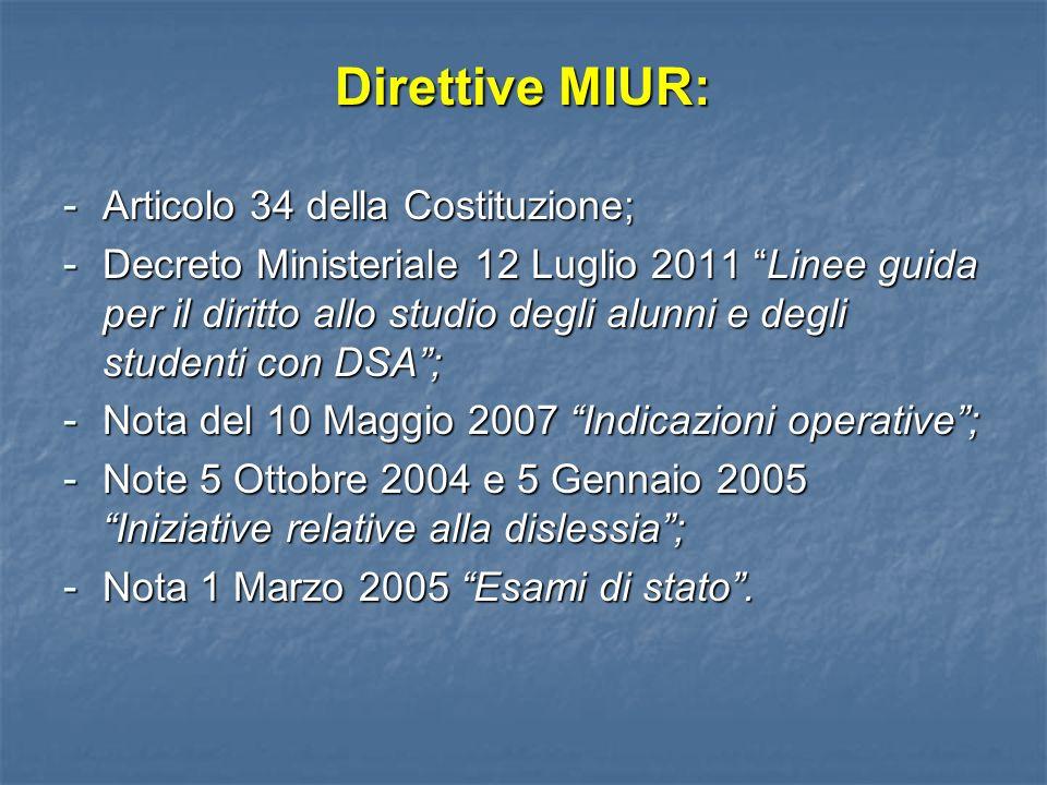 Direttive MIUR: - Articolo 34 della Costituzione; - Decreto Ministeriale 12 Luglio 2011 Linee guida per il diritto allo studio degli alunni e degli st