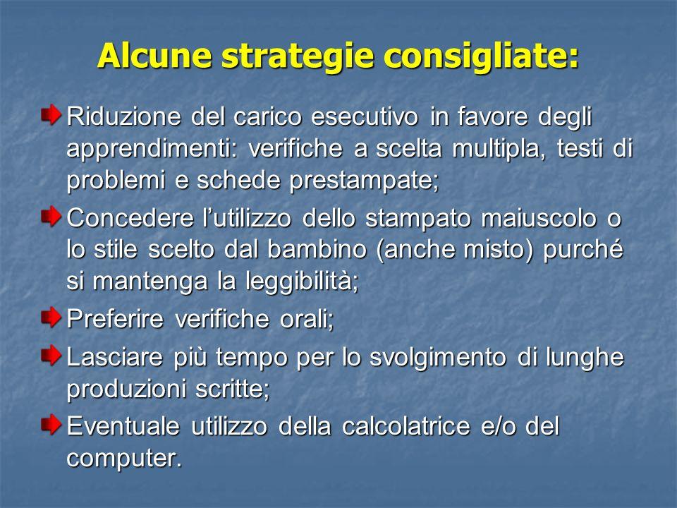 Alcune strategie consigliate: Riduzione del carico esecutivo in favore degli apprendimenti: verifiche a scelta multipla, testi di problemi e schede pr