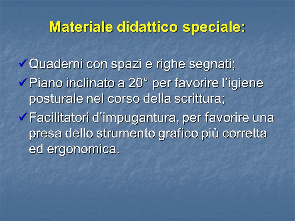 Materiale didattico speciale: Quaderni con spazi e righe segnati; Quaderni con spazi e righe segnati; Piano inclinato a 20° per favorire ligiene postu