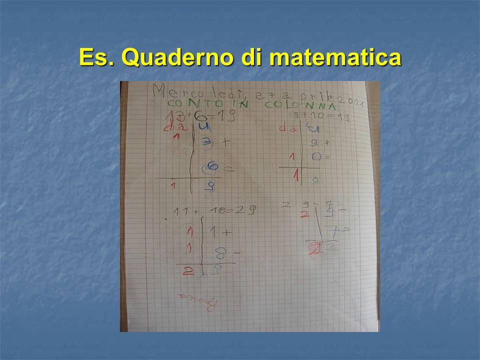 Es. Quaderno di matematica