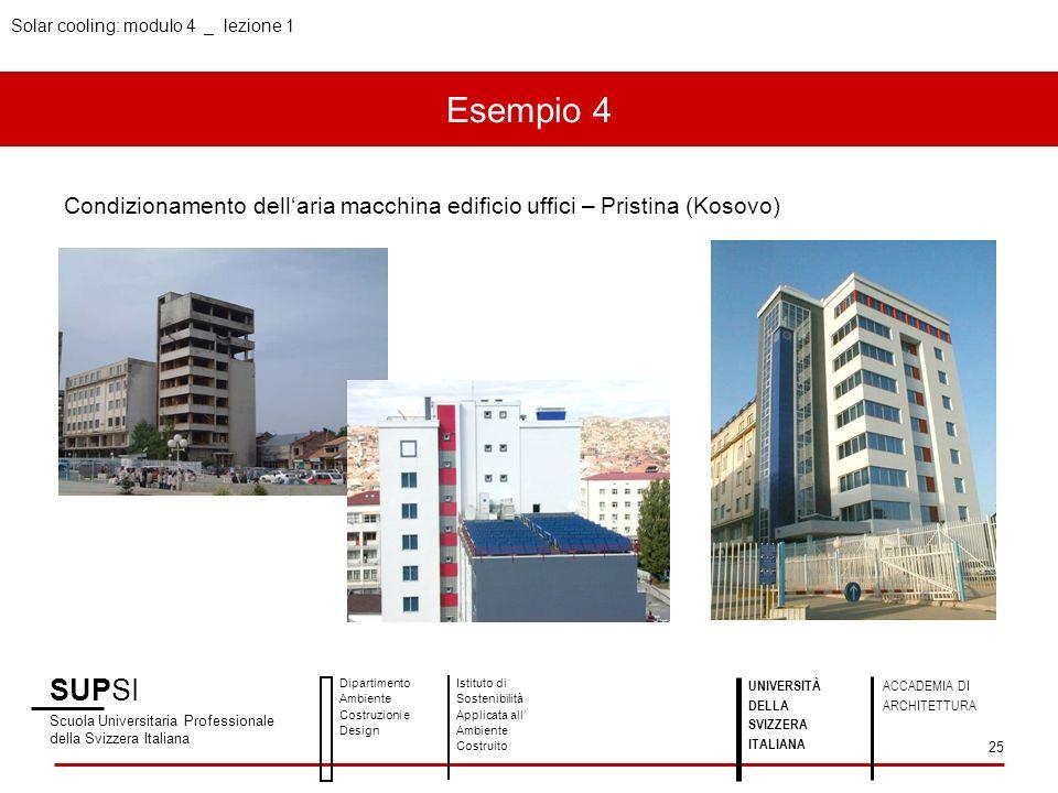 Solar cooling: modulo 4 _ lezione 1 Esempio 4 SUPSI Scuola Universitaria Professionale della Svizzera Italiana Dipartimento Ambiente Costruzioni e Des