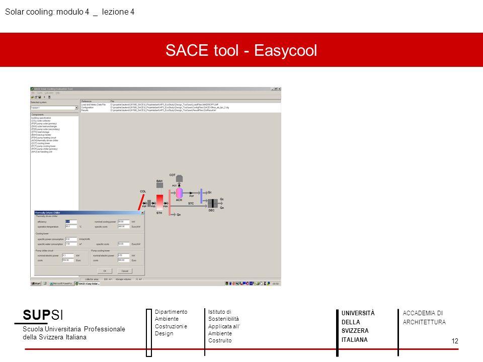 SACE tool - Easycool SUPSI Scuola Universitaria Professionale della Svizzera Italiana Dipartimento Ambiente Costruzioni e Design Istituto di Sostenibi
