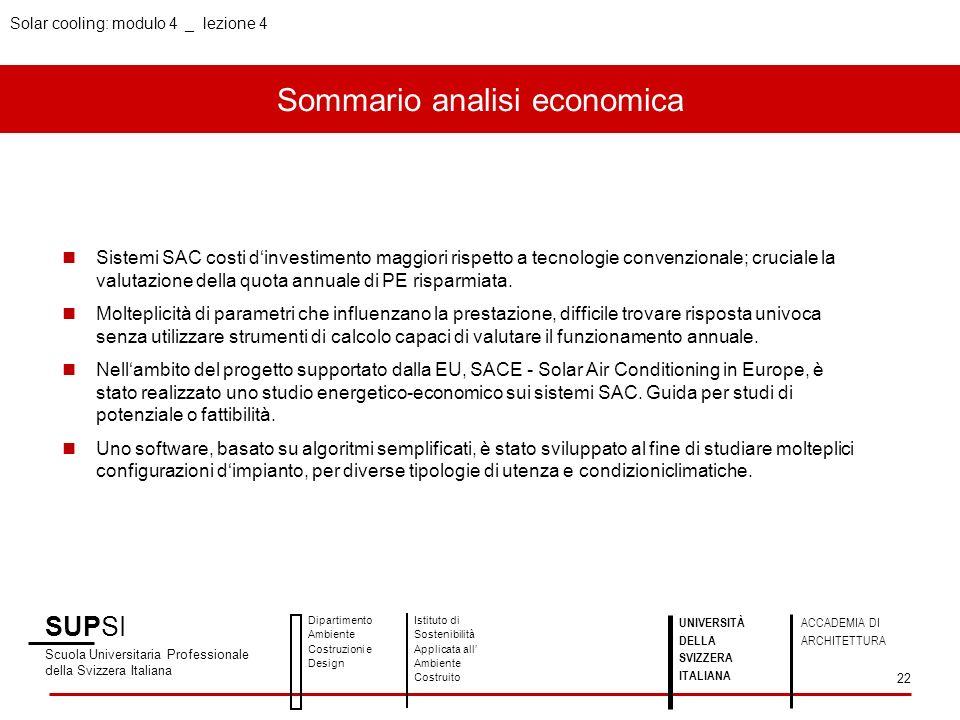 Sommario analisi economica SUPSI Scuola Universitaria Professionale della Svizzera Italiana Dipartimento Ambiente Costruzioni e Design Istituto di Sos