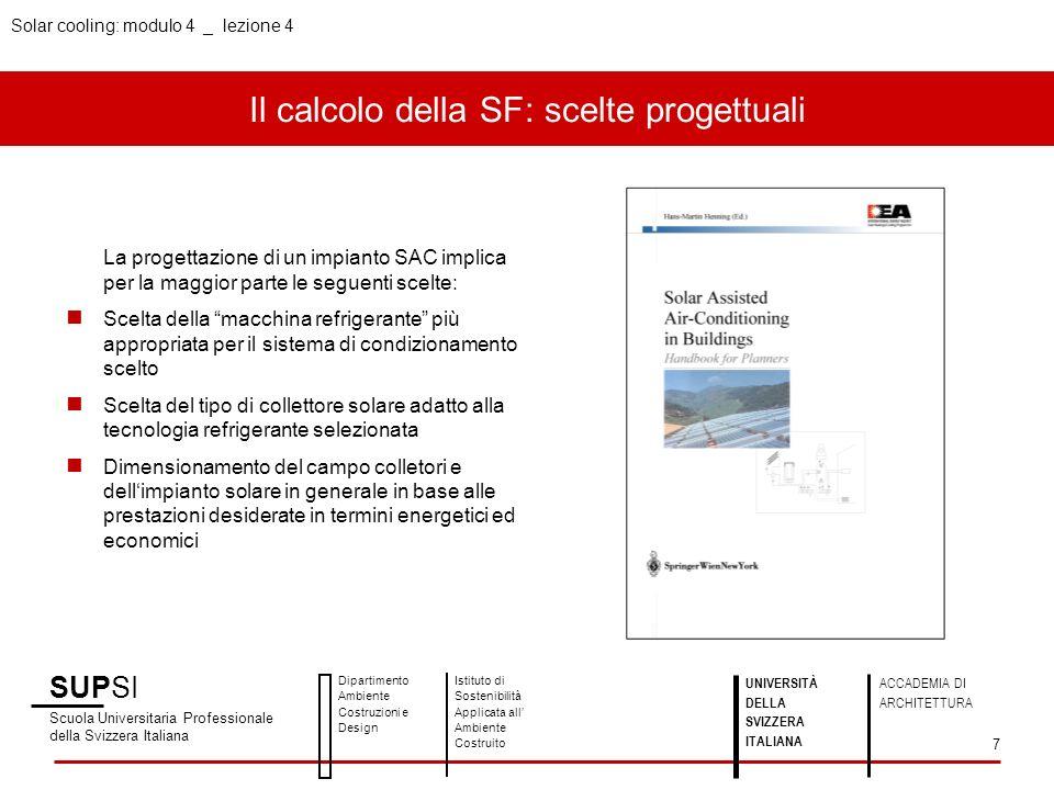 Il calcolo della SF: scelte progettuali SUPSI Scuola Universitaria Professionale della Svizzera Italiana Dipartimento Ambiente Costruzioni e Design Is