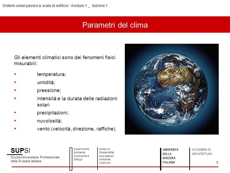 SUPSI Scuola Universitaria Professionale della Svizzera Italiana Dipartimento Ambiente Costruzioni e Design Istituto di Sostenibilità Applicata all Ambiente Costruito Sistemi solari passivi a scala di edificio: modulo 1 _ lezione 1 UNIVERSITÀ DELLA SVIZZERA ITALIANA ACCADEMIA DI ARCHITETTURA 7 FATTORI CLIMATICI I fattori climatici sono le condizioni che producono variazioni sugli elementi climatici.