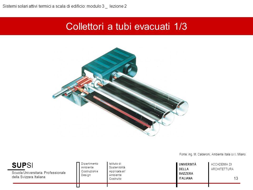 Collettori a tubi evacuati 1/3 SUPSI Scuola Universitaria Professionale della Svizzera Italiana Dipartimento Ambiente Costruzioni e Design Istituto di