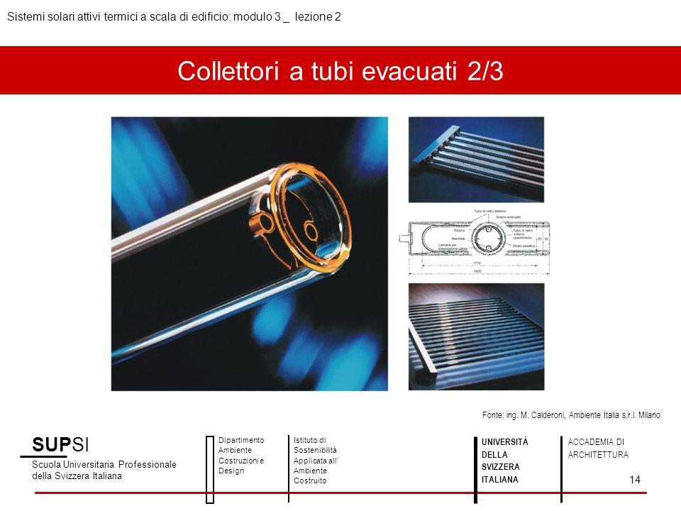 Collettori a tubi evacuati 2/3 SUPSI Scuola Universitaria Professionale della Svizzera Italiana Dipartimento Ambiente Costruzioni e Design Istituto di