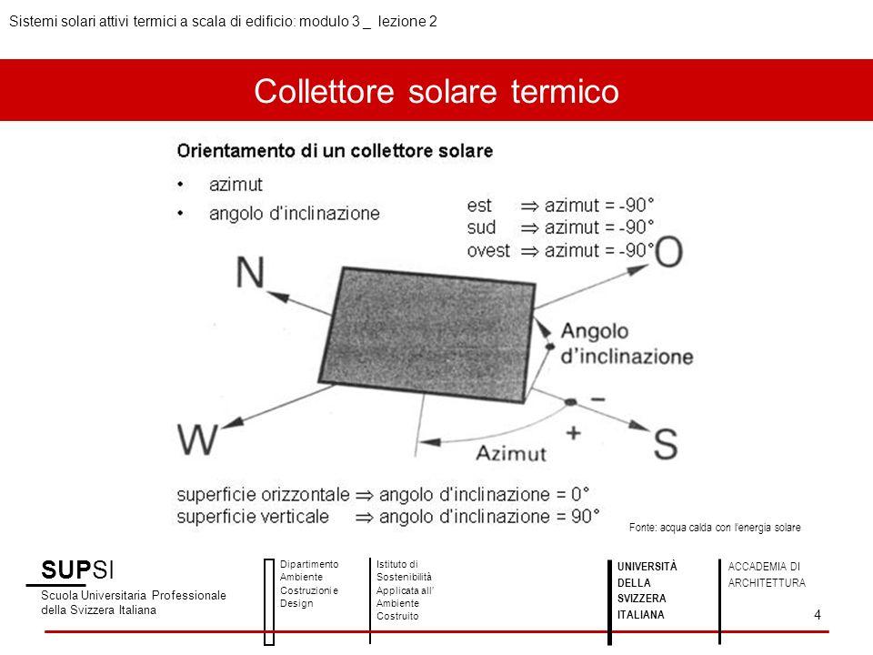Collettore solare termico SUPSI Scuola Universitaria Professionale della Svizzera Italiana Dipartimento Ambiente Costruzioni e Design Istituto di Sostenibilità Applicata all Ambiente Costruito 5 UNIVERSITÀ DELLA SVIZZERA ITALIANA ACCADEMIA DI ARCHITETTURA Fonte: acqua calda con lenergia solare Sistemi solari attivi termici a scala di edificio: modulo 3 _ lezione 2