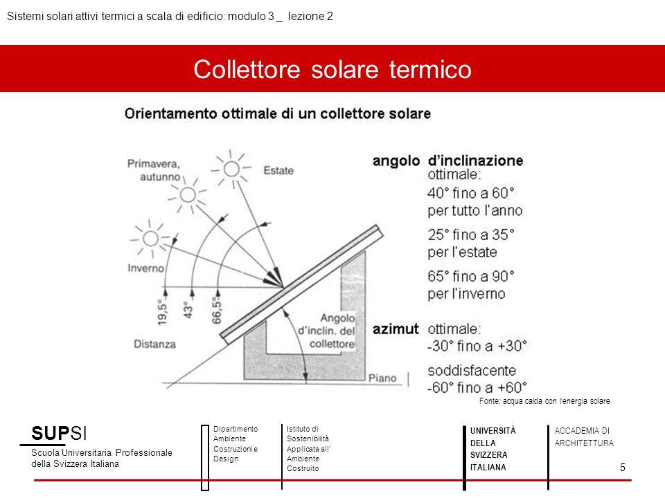 Banca dati e approfondimenti SUPSI Scuola Universitaria Professionale della Svizzera Italiana Dipartimento Ambiente Costruzioni e Design Istituto di Sostenibilità Applicata all Ambiente Costruito 16 UNIVERSITÀ DELLA SVIZZERA ITALIANA ACCADEMIA DI ARCHITETTURA Sistemi solari attivi termici a scala di edificio: modulo 3 _ lezione 2