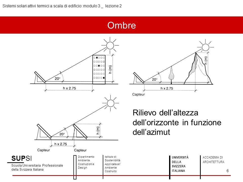 Diagramma solare e maschera dombra SUPSI Scuola Universitaria Professionale della Svizzera Italiana Dipartimento Ambiente Costruzioni e Design Istituto di Sostenibilità Applicata all Ambiente Costruito 7 UNIVERSITÀ DELLA SVIZZERA ITALIANA ACCADEMIA DI ARCHITETTURA Sistemi solari attivi termici a scala di edificio: modulo 3 _ lezione 2