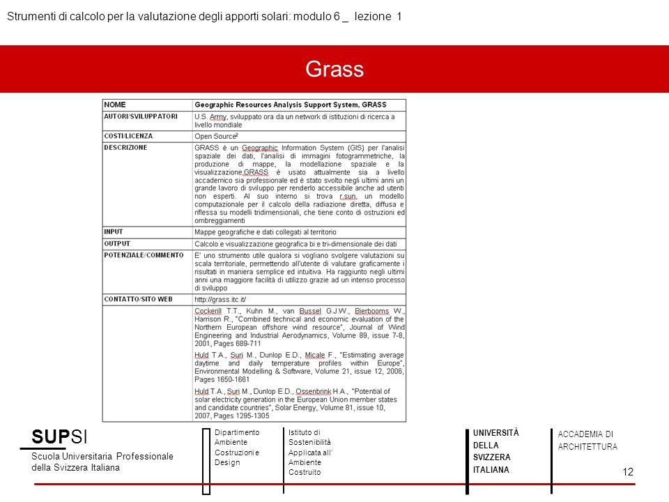 SUPSI Scuola Universitaria Professionale della Svizzera Italiana Dipartimento Ambiente Costruzioni e Design Istituto di Sostenibilità Applicata all Ambiente Costruito UNIVERSITÀ DELLA SVIZZERA ITALIANA ACCADEMIA DI ARCHITETTURA Strumenti di calcolo per la valutazione degli apporti solari: modulo 6 _ lezione 1 12 Grass