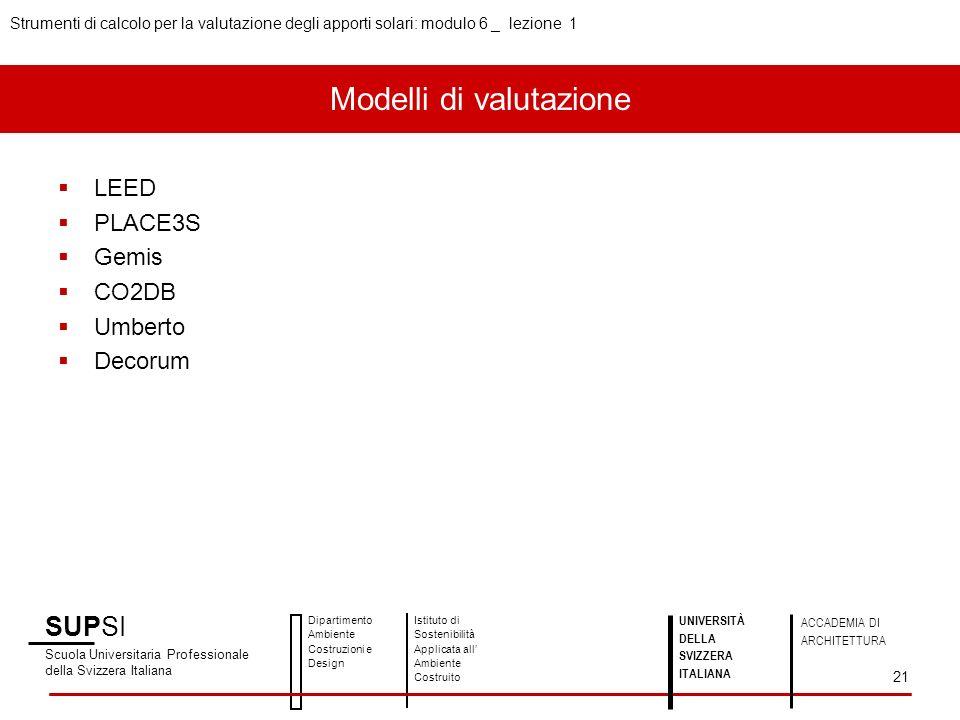 SUPSI Scuola Universitaria Professionale della Svizzera Italiana Dipartimento Ambiente Costruzioni e Design Istituto di Sostenibilità Applicata all Ambiente Costruito UNIVERSITÀ DELLA SVIZZERA ITALIANA ACCADEMIA DI ARCHITETTURA Strumenti di calcolo per la valutazione degli apporti solari: modulo 6 _ lezione 1 21 LEED PLACE3S Gemis CO2DB Umberto Decorum Modelli di valutazione
