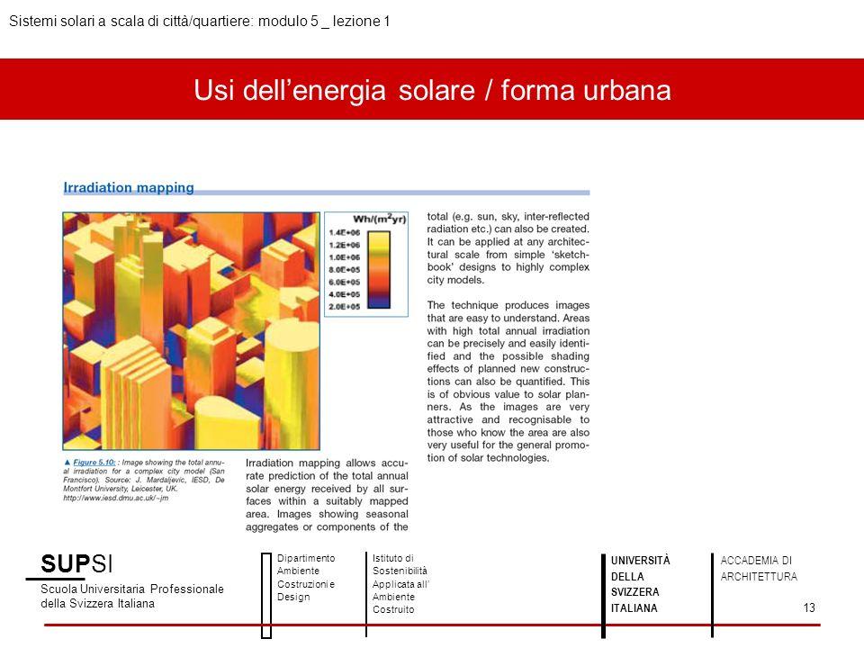 Usi dellenergia solare / forma urbana SUPSI Scuola Universitaria Professionale della Svizzera Italiana Dipartimento Ambiente Costruzioni e Design Isti
