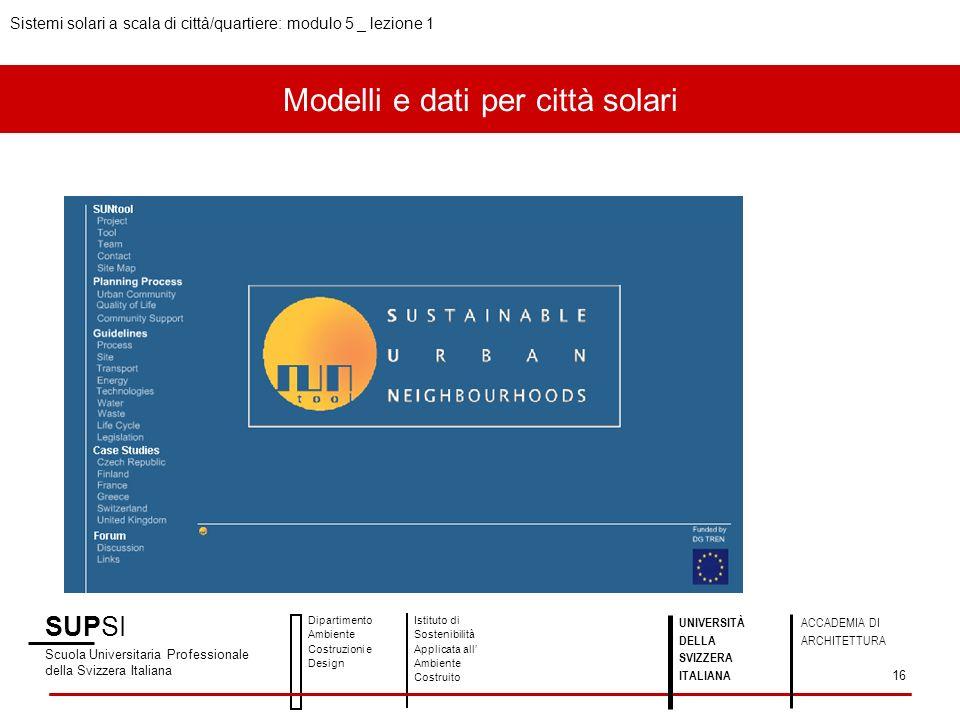 Modelli e dati per città solari SUPSI Scuola Universitaria Professionale della Svizzera Italiana Dipartimento Ambiente Costruzioni e Design Istituto d