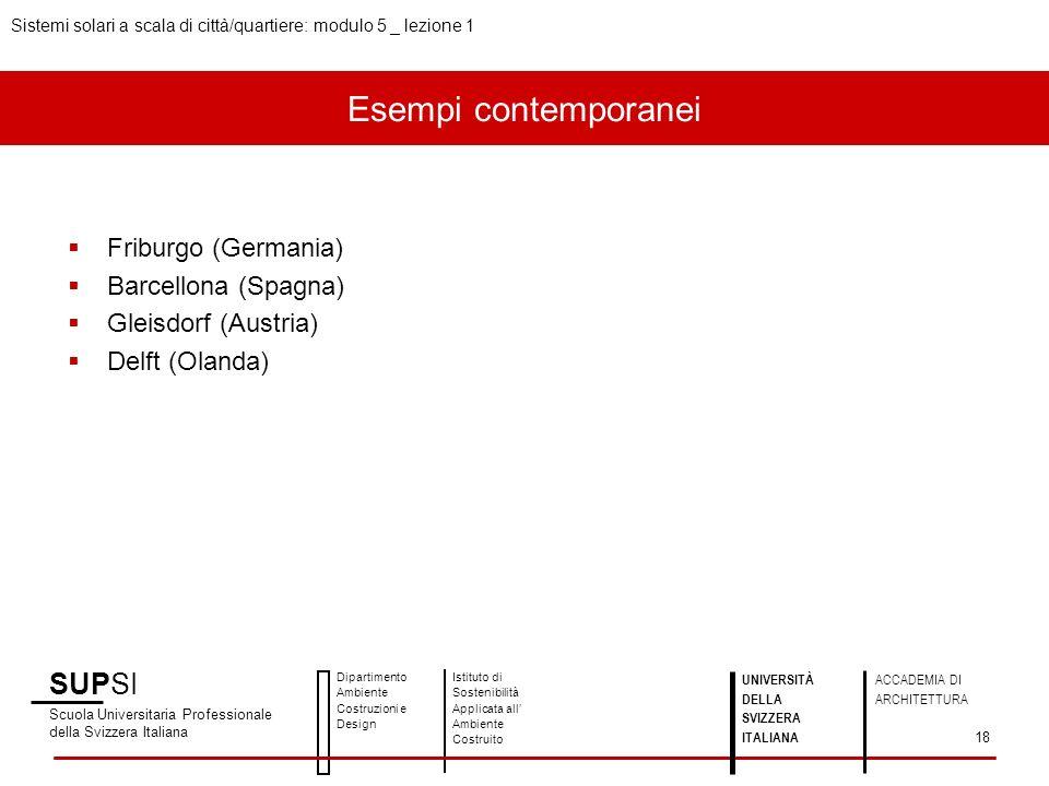 Esempi contemporanei Friburgo (Germania) Barcellona (Spagna) Gleisdorf (Austria) Delft (Olanda) SUPSI Scuola Universitaria Professionale della Svizzer