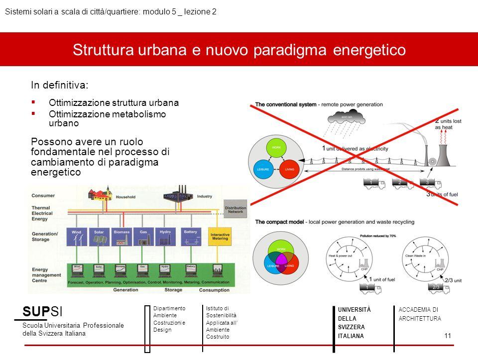 Struttura urbana e nuovo paradigma energetico SUPSI Scuola Universitaria Professionale della Svizzera Italiana Dipartimento Ambiente Costruzioni e Design Istituto di Sostenibilità Applicata all Ambiente Costruito UNIVERSITÀ DELLA SVIZZERA ITALIANA ACCADEMIA DI ARCHITETTURA Sistemi solari a scala di città/quartiere: modulo 5 _ lezione 2 11 In definitiva: Ottimizzazione struttura urbana Ottimizzazione metabolismo urbano Possono avere un ruolo fondamentale nel processo di cambiamento di paradigma energetico