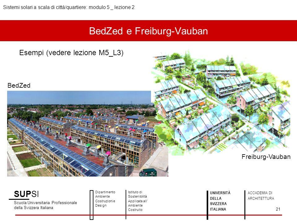 BedZed e Freiburg-Vauban Esempi (vedere lezione M5_L3) SUPSI Scuola Universitaria Professionale della Svizzera Italiana Dipartimento Ambiente Costruzioni e Design Istituto di Sostenibilità Applicata all Ambiente Costruito UNIVERSITÀ DELLA SVIZZERA ITALIANA ACCADEMIA DI ARCHITETTURA Sistemi solari a scala di città/quartiere: modulo 5 _ lezione 2 21 Freiburg-Vauban BedZed