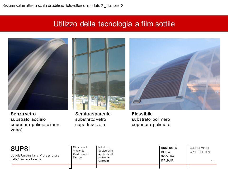 Utilizzo della tecnologia a film sottile SUPSI Scuola Universitaria Professionale della Svizzera Italiana Dipartimento Ambiente Costruzioni e Design I