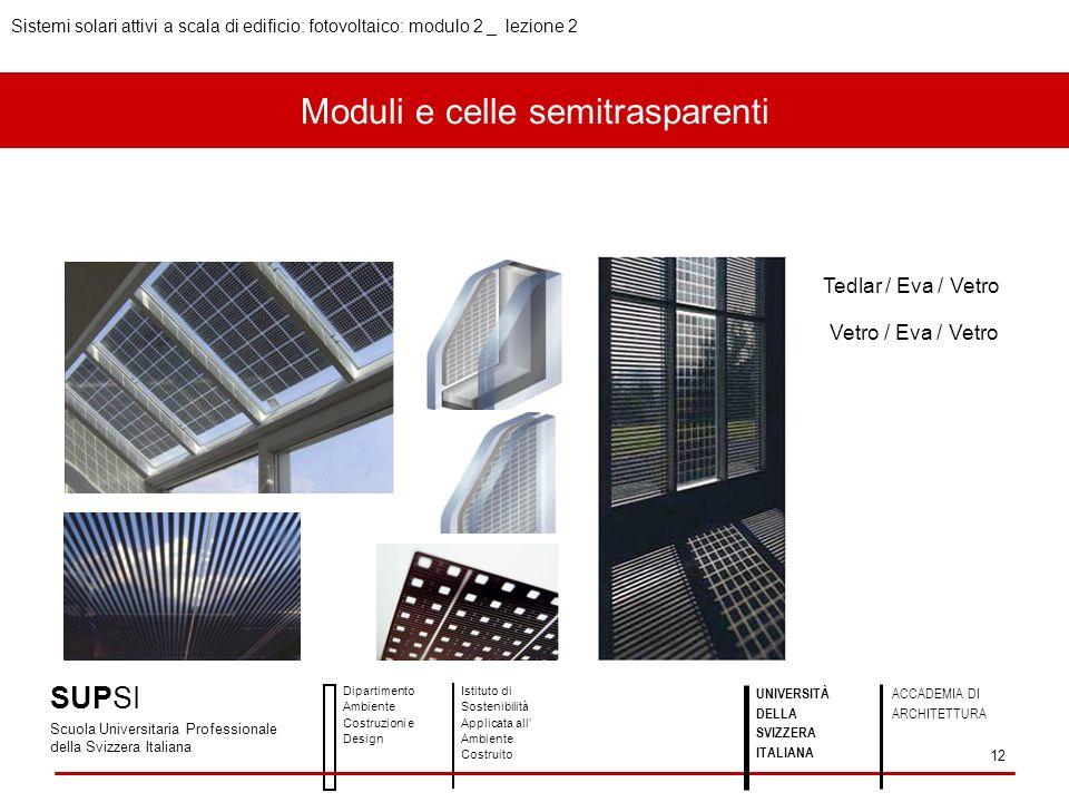 Moduli e celle semitrasparenti Tedlar / Eva / Vetro Vetro / Eva / Vetro SUPSI Scuola Universitaria Professionale della Svizzera Italiana Dipartimento