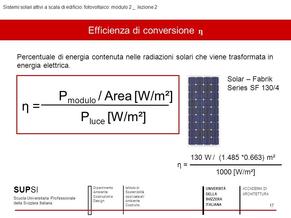 Efficienza di conversione ƞ Percentuale di energia contenuta nelle radiazioni solari che viene trasformata in energia elettrica. η = P modulo / Area [