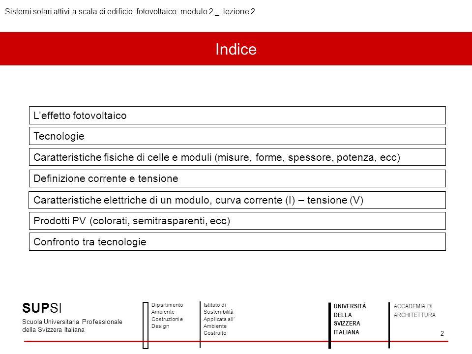 Indice Leffetto fotovoltaico Tecnologie Caratteristiche fisiche di celle e moduli (misure, forme, spessore, potenza, ecc) Definizione corrente e tensi