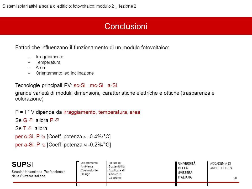 Conclusioni Fattori che influenzano il funzionamento di un modulo fotovoltaico: –Irraggiamento –Temperatura –Area –Orientamento ed inclinazione Tecnol