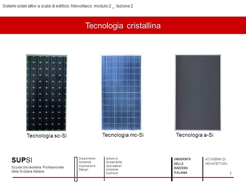 Tecnologia cristallina SUPSI Scuola Universitaria Professionale della Svizzera Italiana Dipartimento Ambiente Costruzioni e Design Istituto di Sosteni