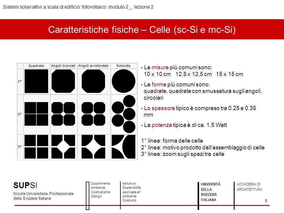 Caratteristiche fisiche – Celle (sc-Si e mc-Si) - Le misure più comuni sono: 10 x 10 cm 12,5 x 12,5 cm 15 x 15 cm - Le forme più comuni sono: quadrate