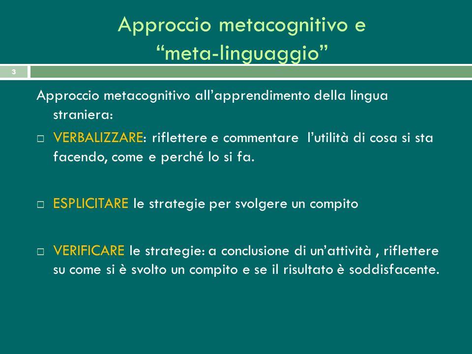 Approccio metacognitivo e meta-linguaggio 3 Approccio metacognitivo allapprendimento della lingua straniera: VERBALIZZARE: riflettere e commentare lut