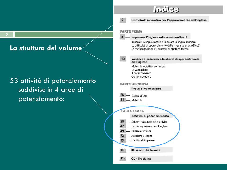 5 La struttura del volume 53 attività di potenziamento suddivise in 4 aree di potenziamento: