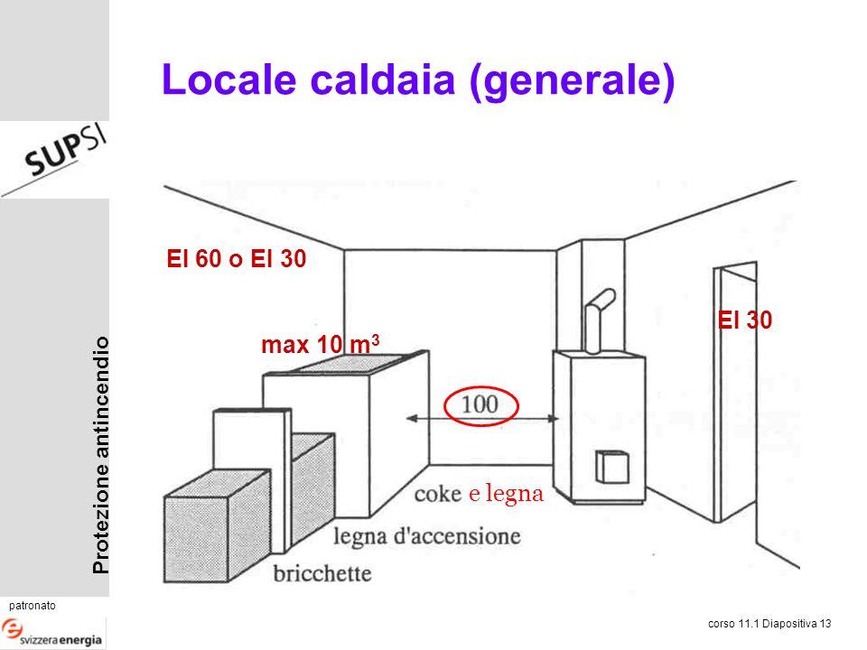 Protezione antincendio patronato corso 11.1 Diapositiva 13 Locale caldaia (generale) EI 60 o EI 30 EI 30 max 10 m 3 e legna