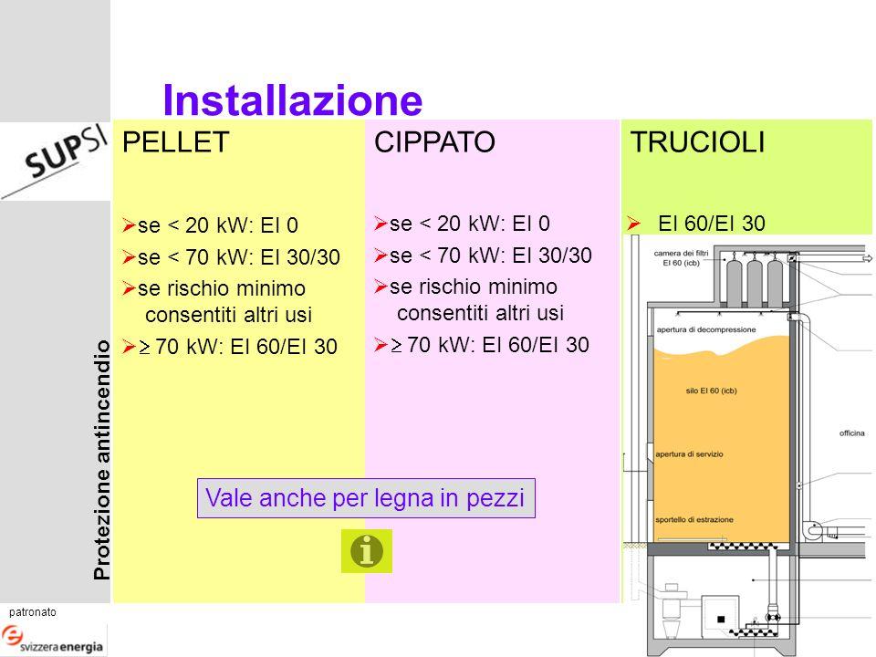 Protezione antincendio patronato corso 11.1 Diapositiva 3 PELLETCIPPATOTRUCIOLI Installazione se < 20 kW: EI 0 se < 70 kW: EI 30/30 se rischio minimo