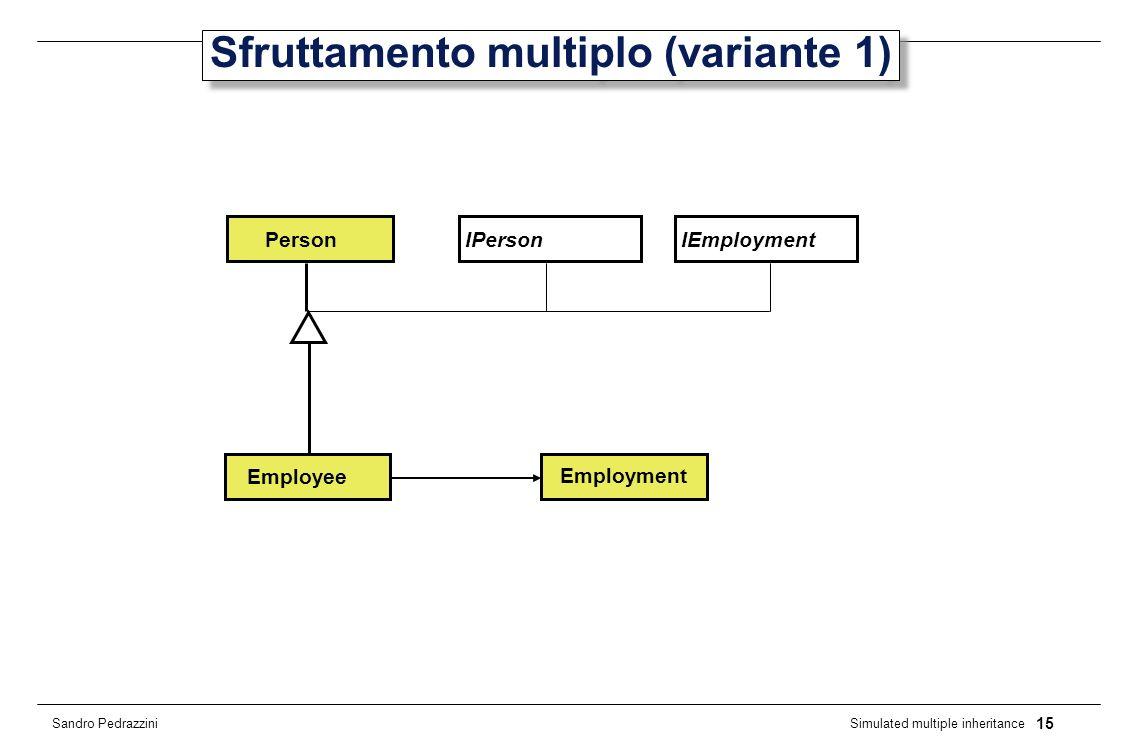 15 Simulated multiple inheritance Sandro Pedrazzini Sfruttamento multiplo (variante 1) IPersonPerson Employee IEmployment Employment