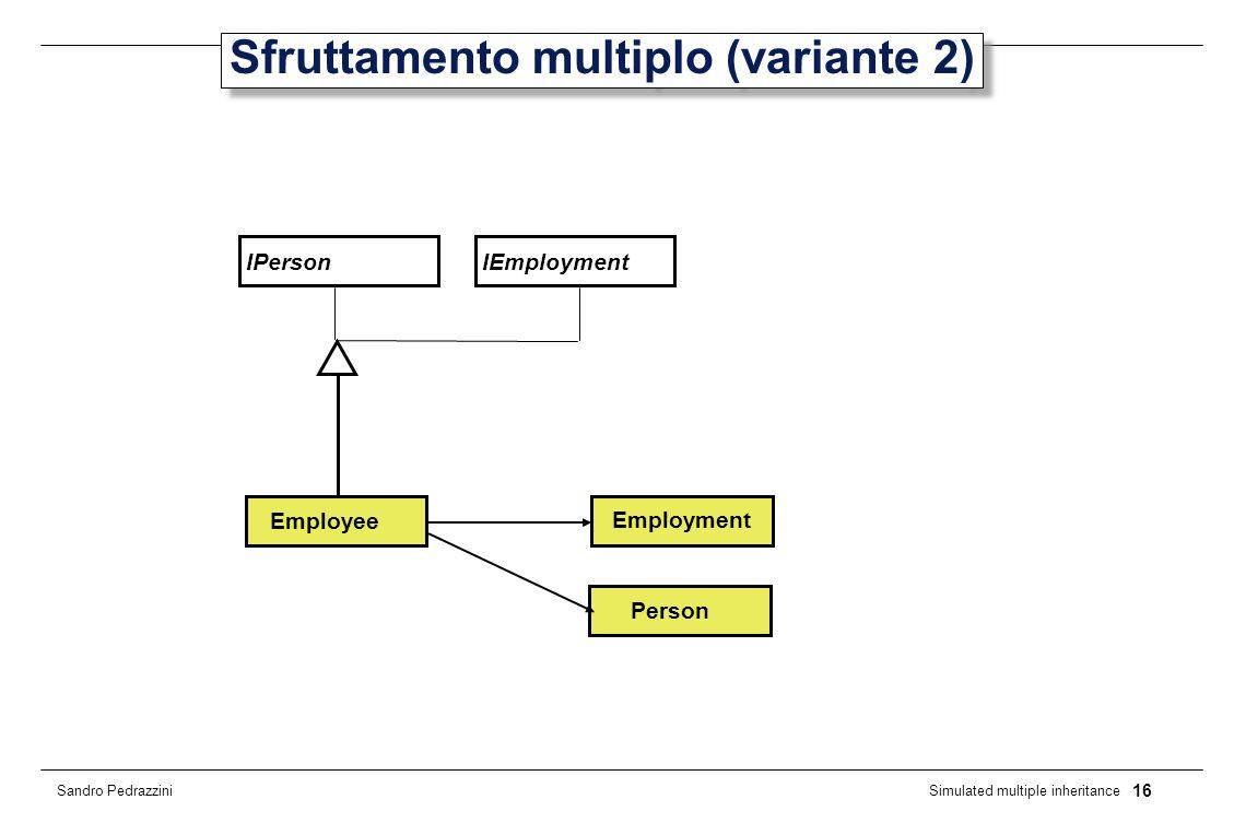16 Simulated multiple inheritance Sandro Pedrazzini Sfruttamento multiplo (variante 2) IPerson Person Employee IEmployment Employment