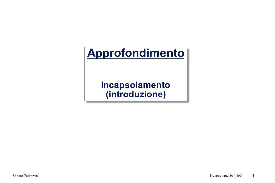 2 Incapsolamento (intro) Sandro Pedrazzini Motivazione Importanza dellincapsulamento nella programmazione OO Ruolo degli elementi interface Qualità delle classi e delle interfacce Non solo le relazioni tra classi sono importanti nello sviluppo, ma anche la buona manufattura di ogni singola classe Classi utili e riutilizzabili