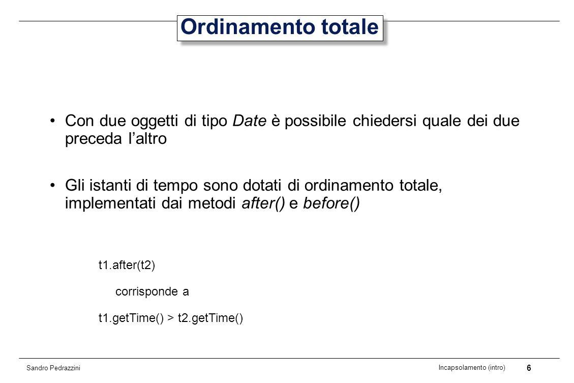 7 Incapsolamento (intro) Sandro Pedrazzini Altre informazioni (1) Date non permette però di ottenere informazioni relative al mese, anno di appartenenza, ecc.