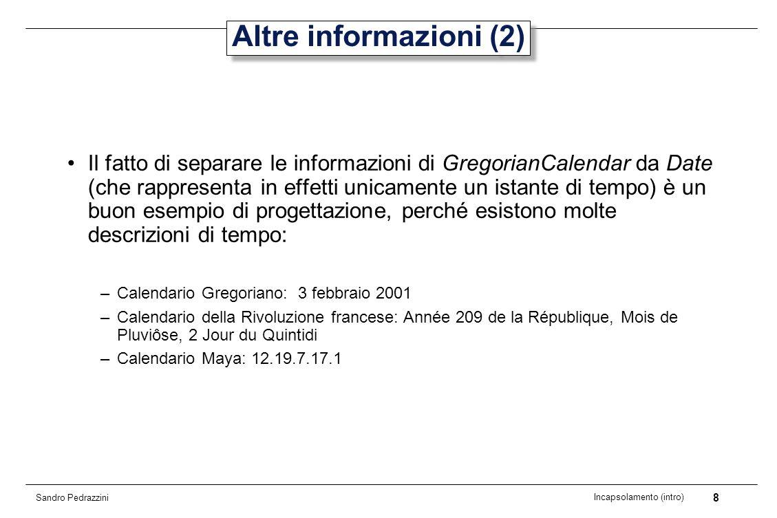 9 Incapsolamento (intro) Sandro Pedrazzini Responsabilità La responsabilità che spetta a GregorianCalendar è quella di assegnare descrizioni agli istanti di tempo.