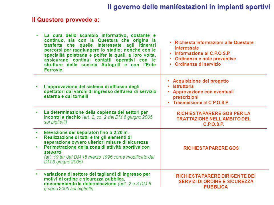 variazione di settore dei tagliandi di ingresso per motivi di ordine e sicurezza pubblica, documentando la determinazione (artt. 2 e 3 DM 6 giugno 200