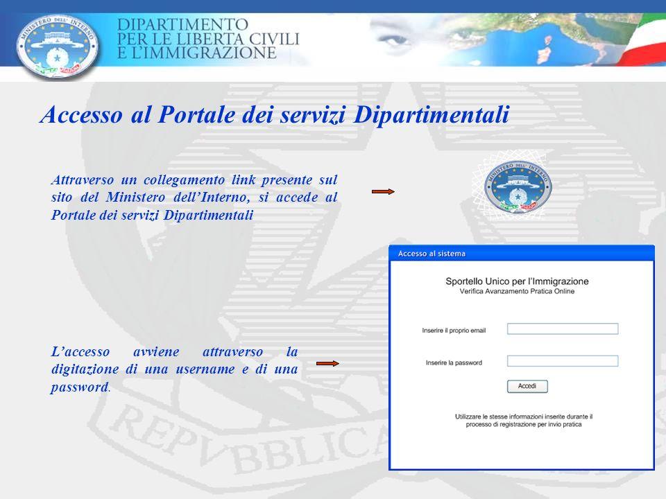 Accesso al Portale dei servizi Dipartimentali Laccesso avviene attraverso la digitazione di una username e di una password. Attraverso un collegamento