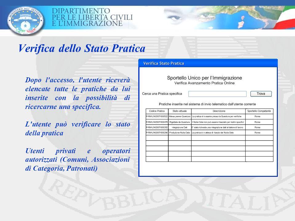 Verifica dello Stato Pratica Dopo l'accesso, l'utente riceverà elencate tutte le pratiche da lui inserite con la possibilità di ricercarne una specifi