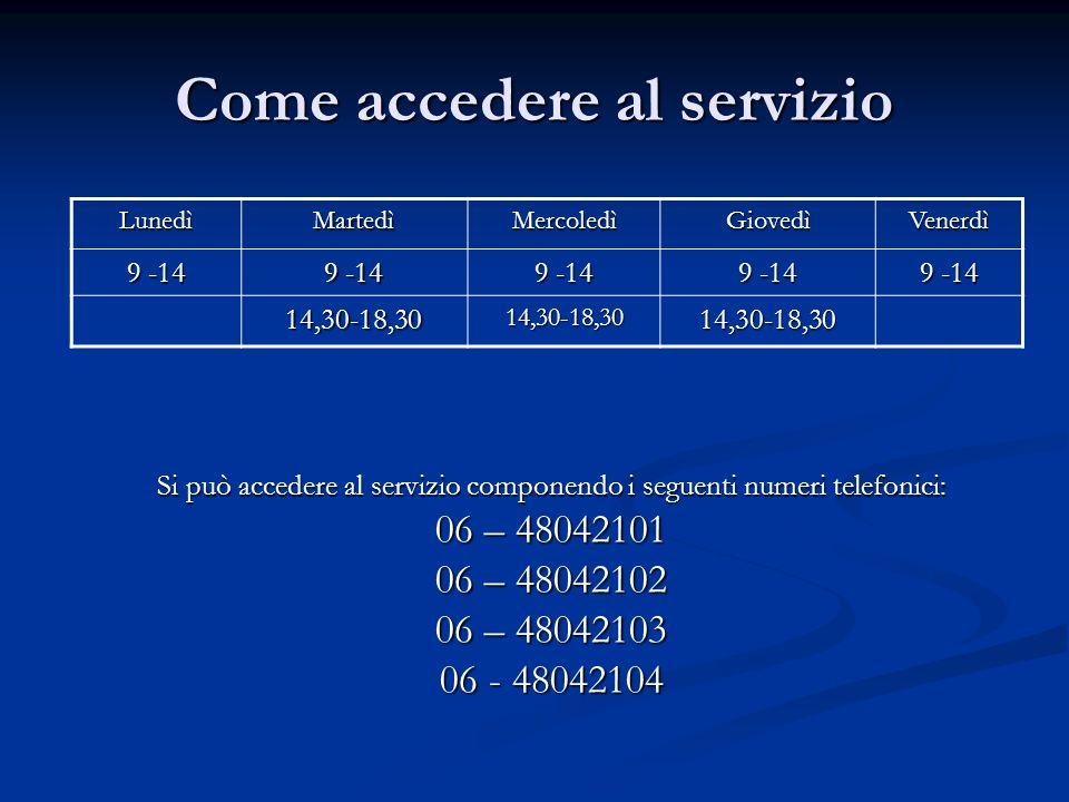 Come accedere al servizio Si può accedere al servizio componendo i seguenti numeri telefonici: 06 – 48042101 06 – 48042102 06 – 48042103 06 - 48042104