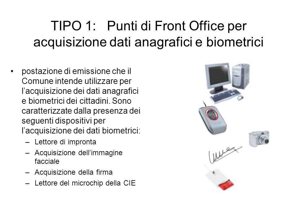 TIPO 1: Punti di Front Office per acquisizione dati anagrafici e biometrici postazione di emissione che il Comune intende utilizzare per lacquisizione