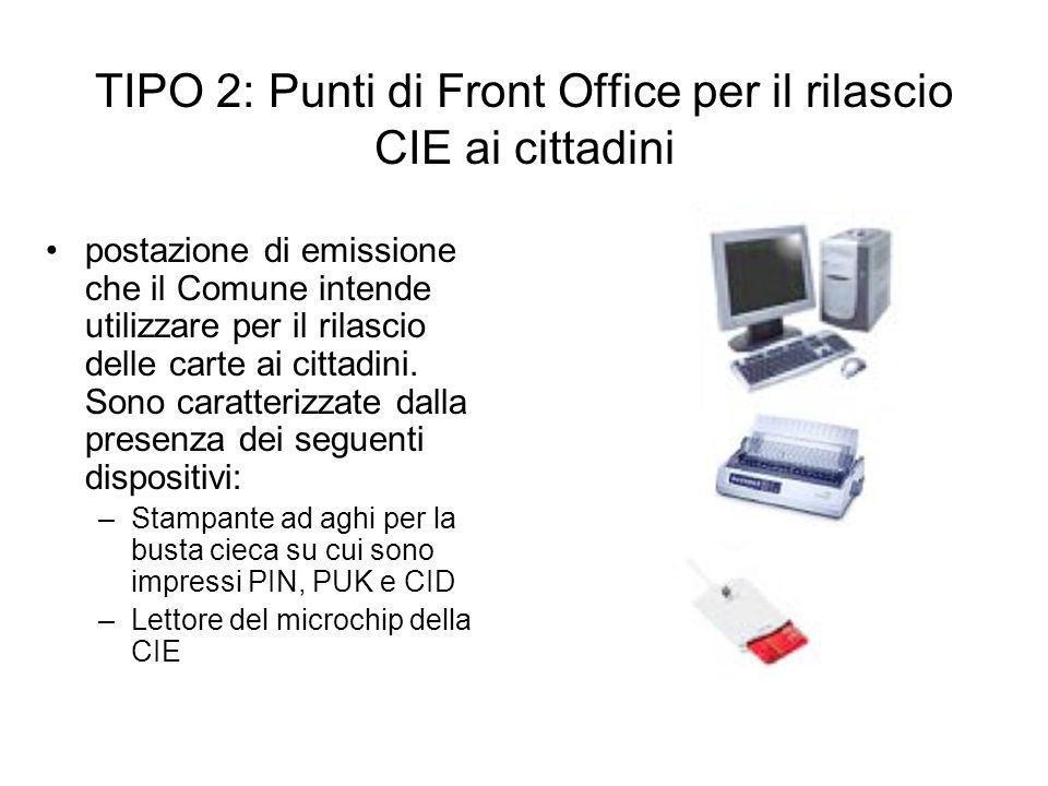 TIPO 2: Punti di Front Office per il rilascio CIE ai cittadini postazione di emissione che il Comune intende utilizzare per il rilascio delle carte ai