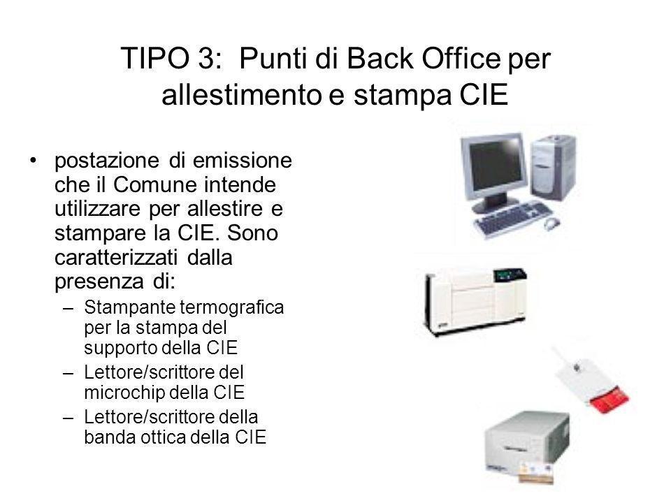 TIPO 3: Punti di Back Office per allestimento e stampa CIE postazione di emissione che il Comune intende utilizzare per allestire e stampare la CIE. S