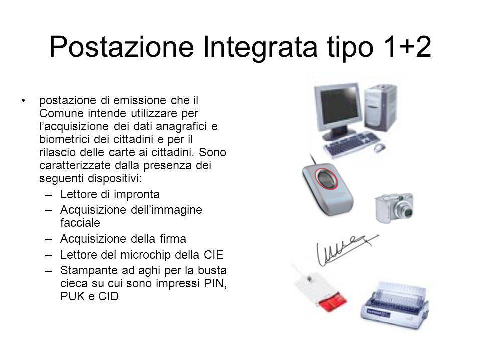 Postazione Integrata tipo 1+2 postazione di emissione che il Comune intende utilizzare per lacquisizione dei dati anagrafici e biometrici dei cittadin